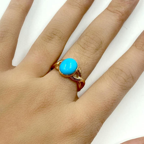 Gold Jewelry - 14K Solid Rose Gold & Sleeping Beauty Turquoise Cabochon Designer Ring