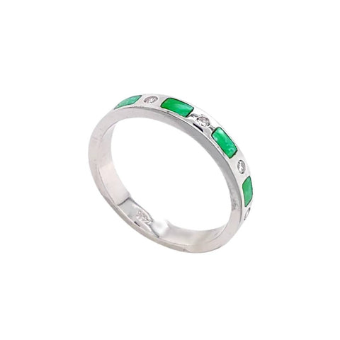 Gold Jewelry - 14K White Gold Diamonds & Carico Lake Turquoise Inlay Designer Ring