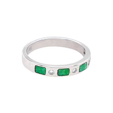 Image of Gold Jewelry - 14K White Gold Diamonds & Carico Lake Turquoise Inlay Designer Ring