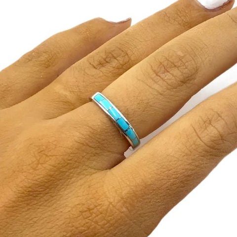 Gold Jewelry - 14K White Gold Sleeping Beauty Turquoise Inlay Designer Band Ring