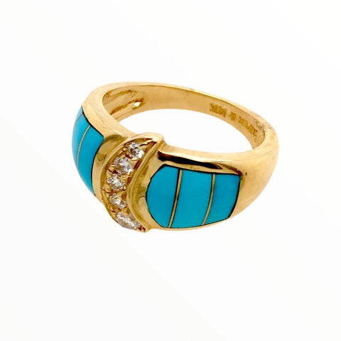 Gold Jewelry - 14K Yellow Gold Diamond Crescent & Sleeping Beauty Turquoise Inlay Designer Ring