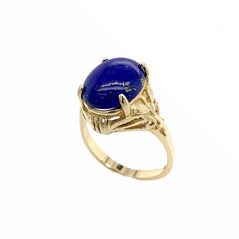 Image of Gold Jewelry - Fine 14K Solid Gold Lapis Designer Engagement Anniversary Birthday Western American Ring