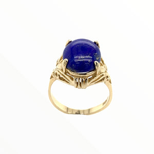 Gold Jewelry - Fine 14K Solid Gold Lapis Designer Engagement Anniversary Birthday Western American Ring