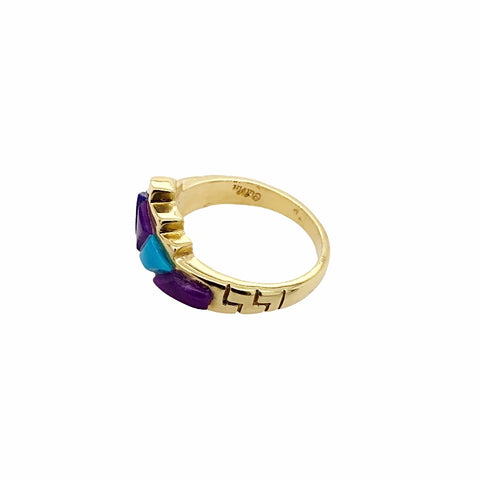 Gold Jewelry - Fine 14K Solid Gold Lapis & Turquoise Inlay Designer Engagement Anniversary Birthday Western American Ring