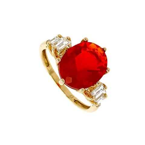 Image of Gold Jewelry - Fine Designer 14K Solid Gold 2.35 CT Red Fire Opal & .47 Diamond Baguette Ring