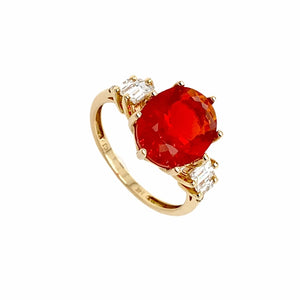 Gold Jewelry - Fine Designer 14K Solid Gold 2.35 CT Red Fire Opal & .47 Diamond Baguette Ring