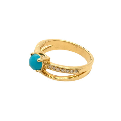 Gold Jewelry - Fine Designer 14K Solid Gold Diamond Channel & Sleeping Beauty Turquoise Double Banded Ring