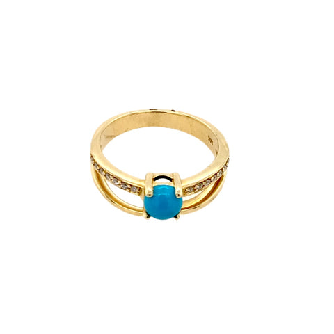 Image of Gold Jewelry - Fine Designer 14K Solid Gold Diamond Channel & Sleeping Beauty Turquoise Double Banded Ring