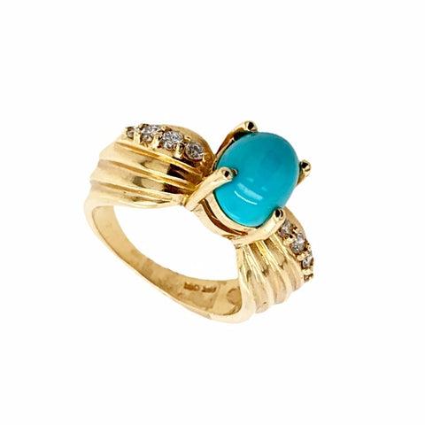 Gold Jewelry - Fine Designer 14K Solid Gold Diamond & Sleeping Beauty Turquoise Cabochon Ring