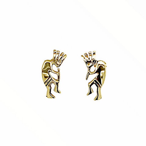 Gold Jewelry - Fine Designer 14K Solid Gold Kokopelli Small Stud Earrings