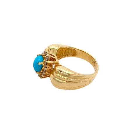 Image of Gold Jewelry - Fine Designer 14K Solid Gold Pear Pave Halo Diamond & Sleeping Beauty Turquoise Ring