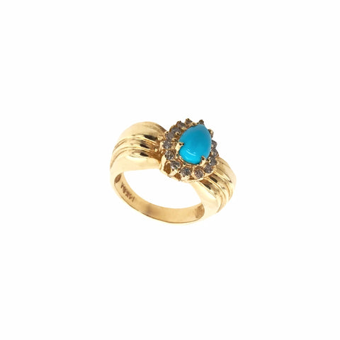 Gold Jewelry - Fine Designer 14K Solid Gold Pear Pave Halo Diamond & Sleeping Beauty Turquoise Ring