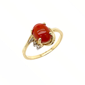 Gold Jewelry - Fine Designer 14K Solid Gold Red Coral Cabochon Diamond Ring