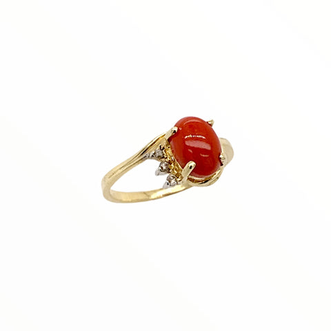 Image of Gold Jewelry - Fine Designer 14K Solid Gold Red Coral Cabochon Diamond Ring