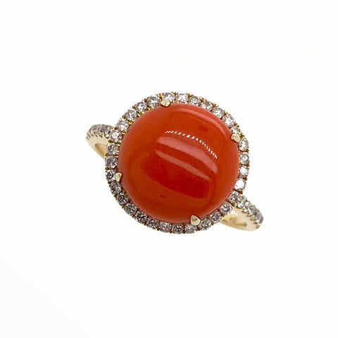 Image of Gold Jewelry - Fine Designer 14K Solid Gold Red Coral Halo Pave .33 CTW Diamond Ring