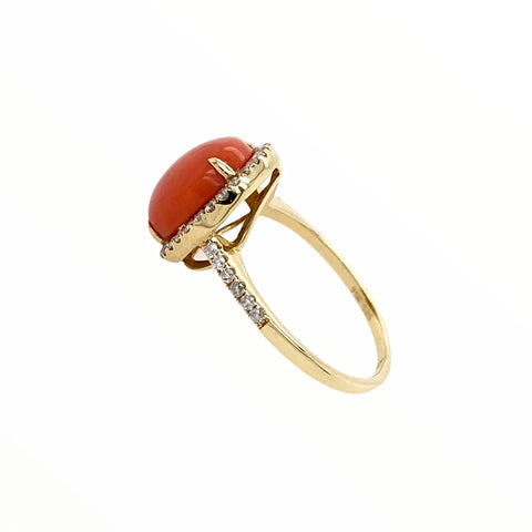 Gold Jewelry - Fine Designer 14K Solid Gold Red Coral Halo Pave .33 CTW Diamond Ring