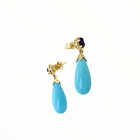 Image of Gold Jewelry - Fine Designer 14K Solid Gold Sleeping Beauty Turquoise, .67CT Sapphire, & Diamonds Post Stud Dangle Earrings