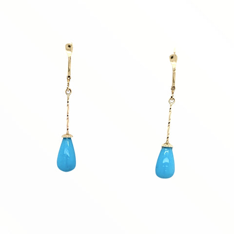 Gold Jewelry - Fine Designer 14K Solid Gold Sleeping Beauty Turquoise Long Dangle Earrings