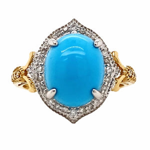 Gold Jewelry - Fine Designer 14K Solid Yellow & White Gold Sleeping Beauty Turquoise & Diamond Halo Ring