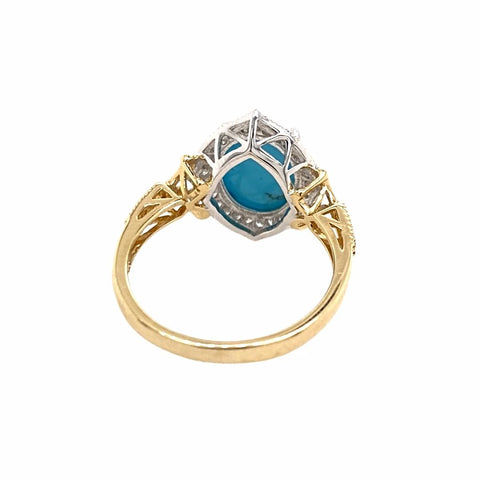 Image of Gold Jewelry - Fine Designer 14K Solid Yellow & White Gold Sleeping Beauty Turquoise & Diamond Halo Ring