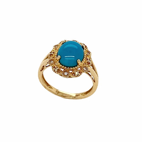 Gold Jewelry - Fine Designer 18K Solid Gold Sleeping Beauty Turquoise Cabochon & Diamond Halo Ring