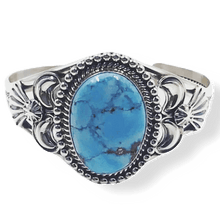 Load image into Gallery viewer, SOLD Golden Hills Turquoise Bracelet W/ Drop Bezel