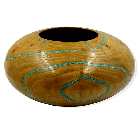 Image of Inlaid Turquoise & Elm Wood Turned Vessel By S. Heath