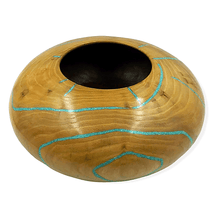Load image into Gallery viewer, Inlaid Turquoise & Elm Wood Turned Vessel by S. Heath