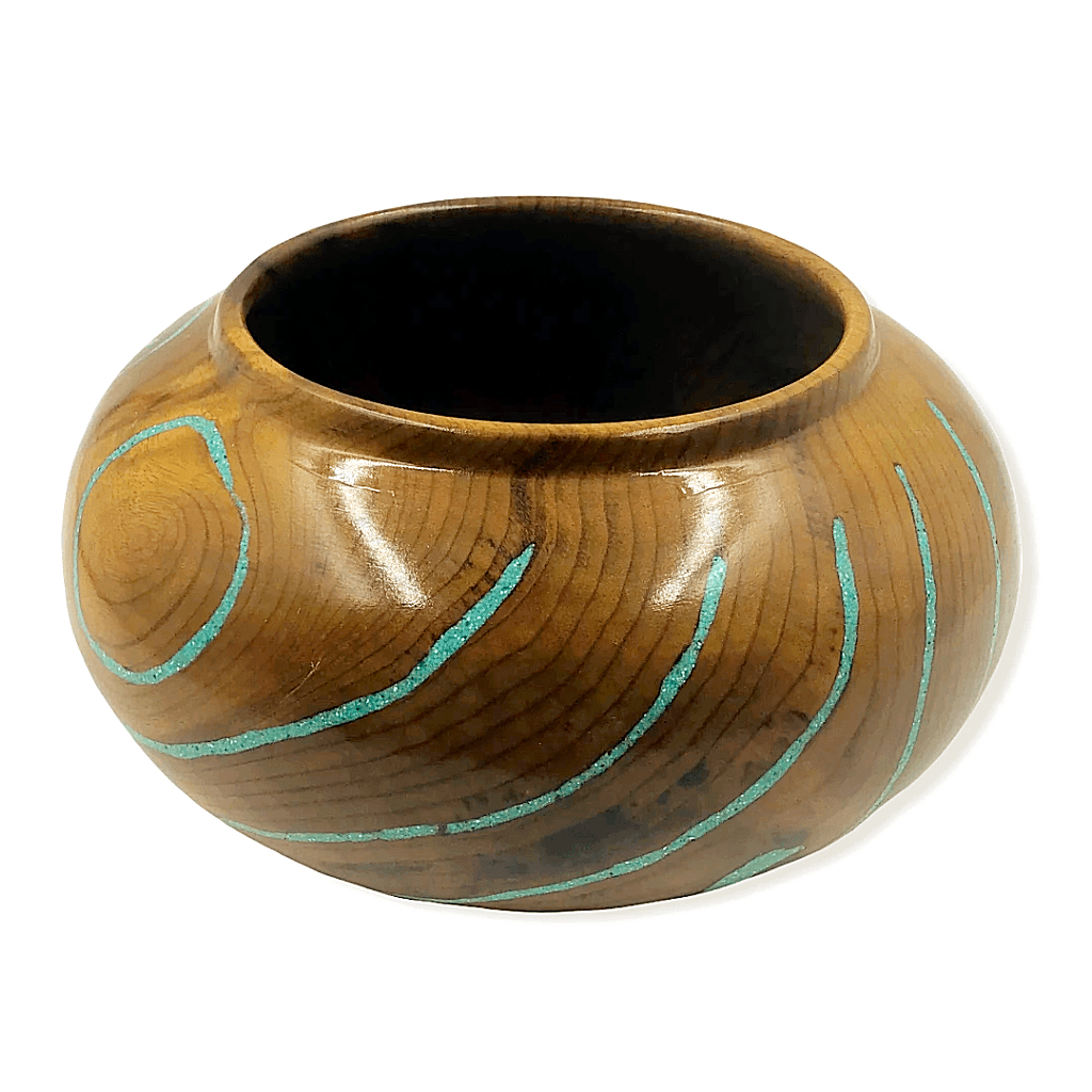 Inlaid Turquoise Mesquite Wood Turning By S. Heath