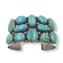 Load image into Gallery viewer, Kingman Spiderweb Turquoise Bracelet -Wide