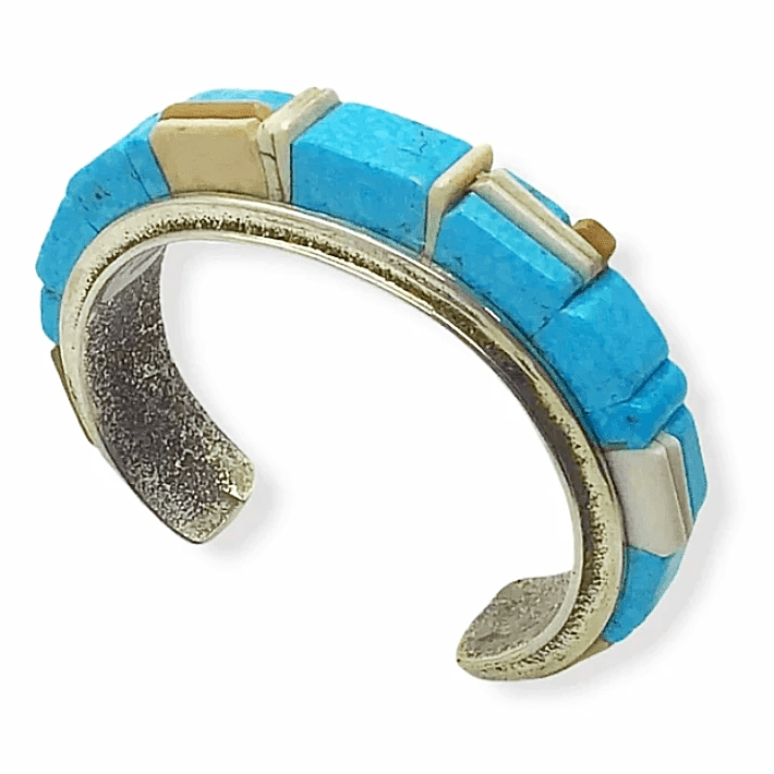 L. James Cobble Stone Inlay Bracelet -Navajo