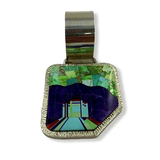 Large Bail Navajo Multi-Color Inlay Shiprock Pendant