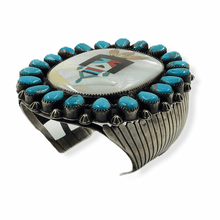 Load image into Gallery viewer, Large Mother of Pearl & Turquoise Pawn Bracelet