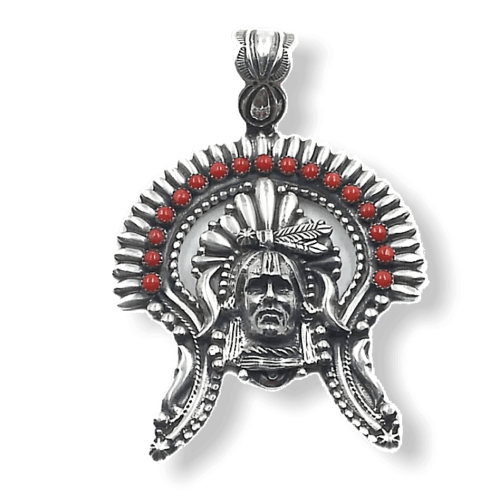 Large Navajo Coral Chief Pendant