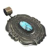 Load image into Gallery viewer, Large Navajo Kingman Turquoise Sandcast Pendant