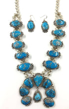 Load image into Gallery viewer, Large Navajo Kingman Turquoise Squash Blossom Necklace