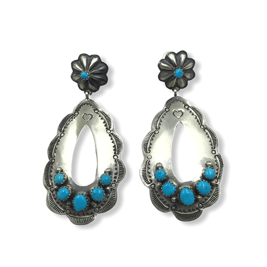 Large Navajo Old Style Turquoise Earrings