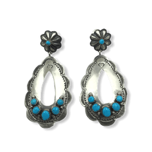 Load image into Gallery viewer, Large Navajo Old Style Turquoise Earrings