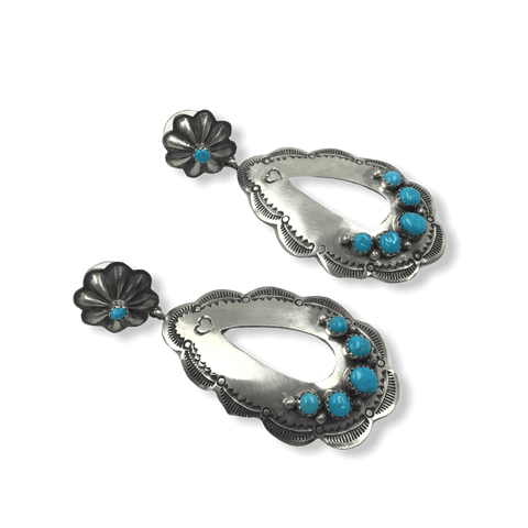 Image of Large Navajo Old Style Turquoise Earrings