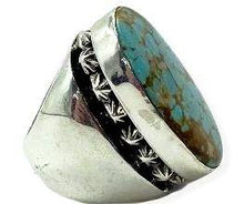 Load image into Gallery viewer, Large Navajo Turquoise Men's Ring Russell Sam