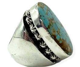 Large Navajo Turquoise Men's Ring Russell Sam