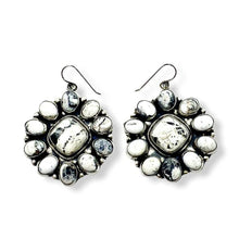 Load image into Gallery viewer, Large Navajo White Buffalo Cluster Earrings