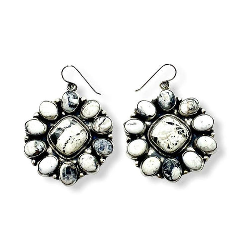Image of Large Navajo White Buffalo Cluster Earrings