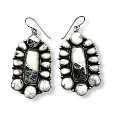 Load image into Gallery viewer, Large Navajo White Buffalo Cluster Earrings-Rectangular