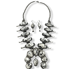 Load image into Gallery viewer, Large Navajo White Buffalo Squash Blossom Necklace