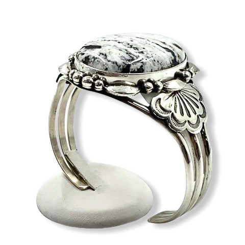 Image of Large Oval Navajo White Buffalo Bracelet