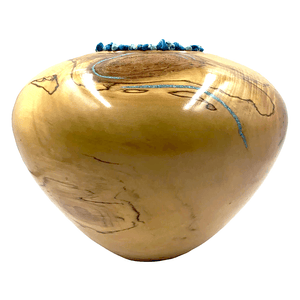 Large Turquoise Aspen Wood Turned Vessel By S. Heath