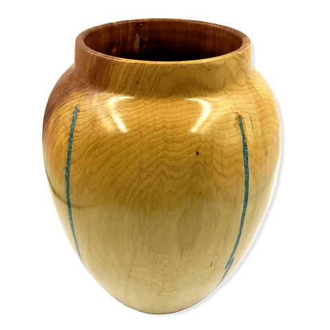 Large Turquoise Cedar Wood Turning By By S. Heath