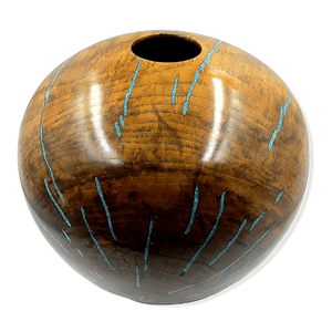 Large Turquoise Inlay Walnut Wood Turning by S. Heath