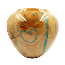Load image into Gallery viewer, SOLD Large Turquoise Maple Woo.d Turning by S. Heath